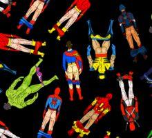 Superhero Butts Scattered on Black Sticker