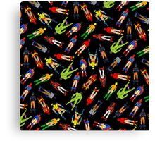 Superhero Butts Scattered on Black Canvas Print