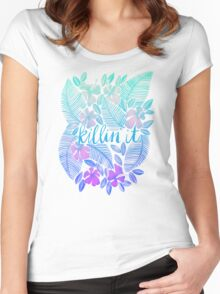 Killin' It – Turquoise + Lavender Ombré Women's Fitted Scoop T-Shirt