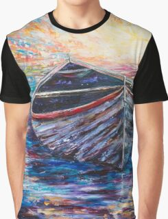 Wooden Boat at Sunrise Graphic T-Shirt