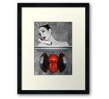 The secret masks of; guilt, pain and shame - Self Portrait Framed Print