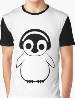 Penguin Listens to Music Graphic T-Shirt