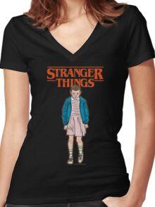 Stranger Things Eleven Women's Fitted V-Neck T-Shirt