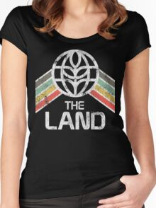 The Land Logo Distressed in Vintage Retro Style Women's Fitted Scoop T-Shirt