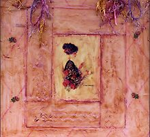Young Lady In Diamond Wax Collage On Canvas Board by Sandra Foster
