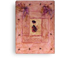 Young Lady In Diamond Wax Collage On Canvas Board Canvas Print