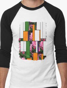 Pink Roses in Anzures 1 Art Rectangles 5 Men's Baseball ¾ T-Shirt