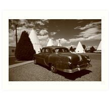 Route 66 - Wigwam Motel and Classic Car Art Print