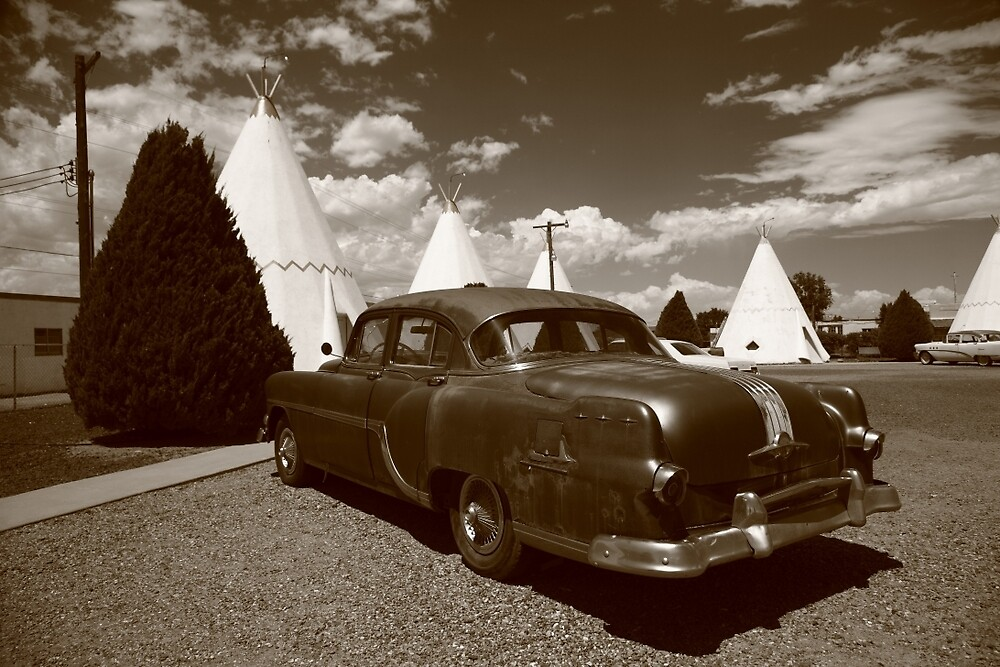 Route 66 - Wigwam Motel and Classic Car by Frank Romeo