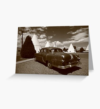 Route 66 - Wigwam Motel and Classic Car Greeting Card