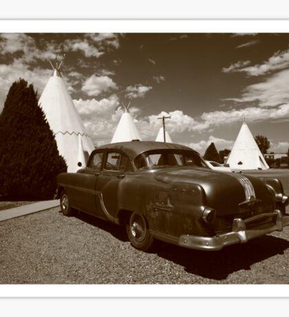 Route 66 - Wigwam Motel and Classic Car Sticker