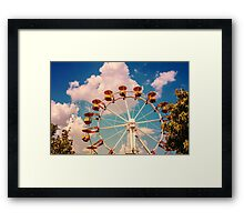 Ferris Wheel In Fun Park On Blue Sky Framed Print