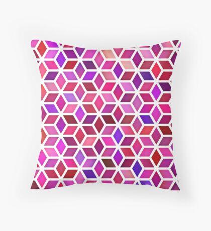 Pink Shades Gradient Rhombus Shape Grid Geometric Pattern Throw Pillow