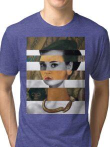 Frida Kahlo's Self Portrait with Monkey & Audrey Hepburn Tri-blend T-Shirt