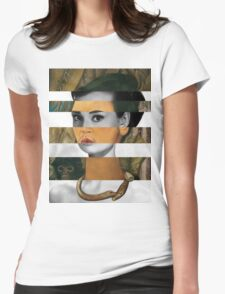 Frida Kahlo's Self Portrait with Monkey & Audrey Hepburn Womens Fitted T-Shirt
