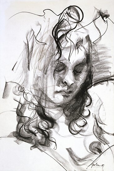 Janine (Black Pastel) by Stephen Gorton