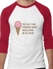 Ice cream makes everybody happy Men's Baseball ¾ T-Shirt