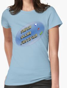 Saved, clean, justified. Womens Fitted T-Shirt