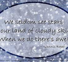 Cloudy blue Sky Star haiku, oval  by PoemsProseArt