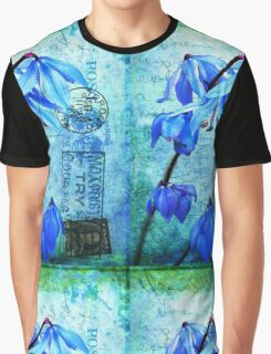 Bluebells on Vintage Postcard Graphic T-Shirt