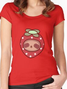 Strawberry Sloth Face Women's Fitted Scoop T-Shirt