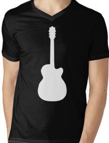 White Guitar Mens V-Neck T-Shirt