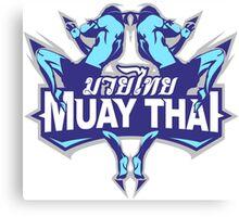 muay thai fighter blue thailand martial art badge logo Canvas Print