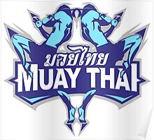 muay thai fighter blue thailand martial art badge logo Poster