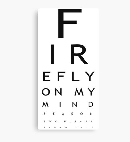 Serenity Eye Chart Sticker Canvas Print