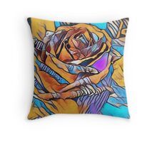 Bold Expressionistic Rose Throw Pillow