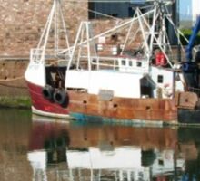 fishing boat at the harbour Sticker