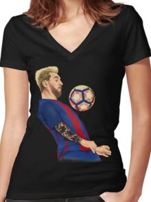 Neo Messi Women's Fitted V-Neck T-Shirt