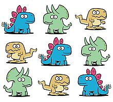 Cute Dinosaurs Pattern Photographic Print