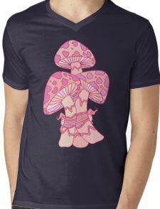 Pink Mushrooms Mens V-Neck T-Shirt