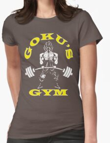 Goku's Gym (White and Yellow Logo) Womens Fitted T-Shirt