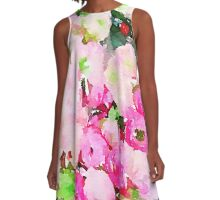 cute,water color,peonies,hand painted,roses,flowers,hot pink,cream,green,pink,white A-Line Dress