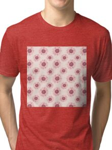 Cute,1970,flowers,floral,spoon flower,brick red,peach,coral,beige,cream Tri-blend T-Shirt