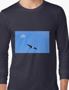 Pacific White Heron Flies passed the Moon Long Sleeve T-Shirt