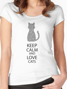 Cute Black Cat Cartoon Hearts Women's Fitted Scoop T-Shirt