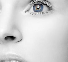 Beautiful Woman's Black and White Face with Blue Eye art photo print by ArtNudePhotos