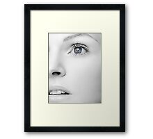 Beautiful Woman's Black and White Face with Blue Eye art photo print Framed Print
