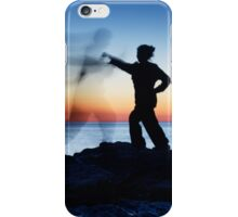Woman attacking a ghost shadow of a man art photo print iPhone Case/Skin