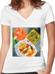Guacamole and drinks  Women's Fitted V-Neck T-Shirt