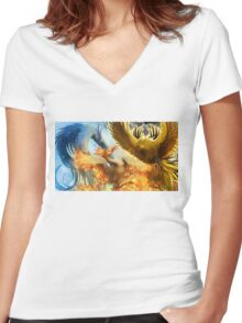 Pokemon Legendary Birds Women's Fitted V-Neck T-Shirt