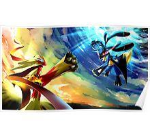 Pokemon Blaziken vs Lucario Poster
