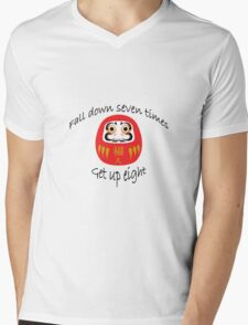 Daruma Japanese Proverb Mens V-Neck T-Shirt