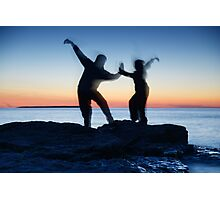 Blurred silhouettes of people practicing martial arts art photo print Photographic Print