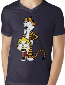 Rick and Morty, Calvin and Hobbes, Mashup Mens V-Neck T-Shirt