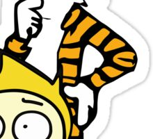 Rick and Morty, Calvin and Hobbes, Mashup Sticker