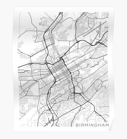 Birmingham Map, USA - Black and White Poster